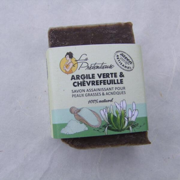 Savon surgras Argile verte et chèvrefeuille (pour peaux grasses et acnéiques)