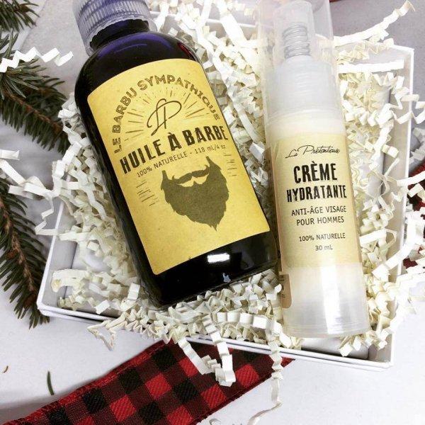 Coffret-cadeau pour homme (huile à barbe + crème hydratante)